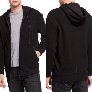 Moncler Men's Waffle-Knit Zip-Front Hoodie